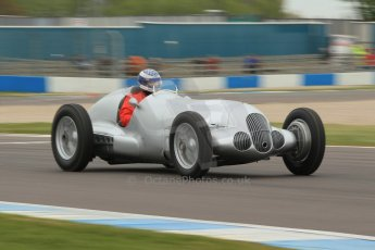 World © Octane Photographic Ltd. Saturday 2nd May 2015. Donington Historic Festival - Historic F1 Car demonstration laps. Replica Mercedes W125 (1937) – Kevin Wheatcroft. Digital Ref : 1240CB1L5673