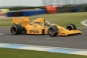 World © Octane Photographic Ltd. Saturday 2nd May 2015. Donington Historic Festival - Historic F1 Car demonstration laps. 1989 Lotus 101/3 - Steve Griffiths. (Ex-Satoru Nakajima). Digital Ref : 1240CB1L5708