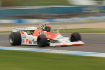 World © Octane Photographic Ltd. Saturday 2nd May 2015. Donington Historic Festival - Historic F1 Car demonstration laps. 1980 McLaren M29 (Ex John Watson and Alain Prost). Digital Ref : 1240CB1L5762