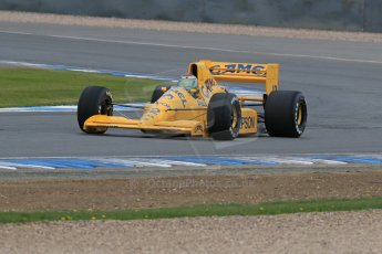 World © Octane Photographic Ltd. Saturday 2nd May 2015. Donington Historic Festival - Historic F1 Car demonstration laps. 1989 Lotus 101/3 - Steve Griffiths. (Ex-Satoru Nakajima). Digital Ref : 1240LB7D1020