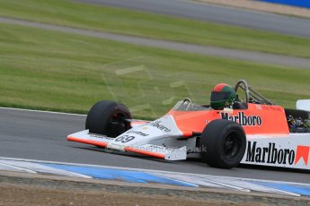 World © Octane Photographic Ltd. Saturday 2nd May 2015. Donington Historic Festival - Historic F1 Car demonstration laps. 1980 McLaren M29 (Ex John Watson and Alain Prost). Digital Ref : 1240LB7D1058
