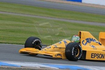World © Octane Photographic Ltd. Saturday 2nd May 2015. Donington Historic Festival - Historic F1 Car demonstration laps. 1989 Lotus 101/3 - Steve Griffiths. (Ex-Satoru Nakajima). Digital Ref : 1240LB7D1083