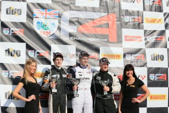 World © Octane Photographic Ltd. DUO BRDC Formula 4 Race 1 Podium, Oulton Park, UK, Saturday 4th April 2015. HHC Motorsport Will Palmer (1st), Harri Newey (2nd) and Hillspeed - Sebastian Lanzetti (3rd). Digital Ref : 1214LB1D3708