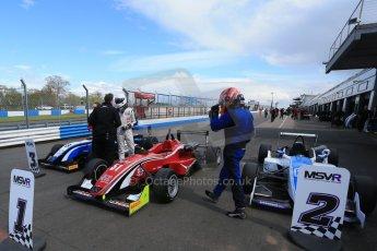 World © Octane Photographic Ltd. Saturday 25th April 2015, MSVR F3 Cup Race 1 parc ferme. Donington Park. Chris Dittmann Racing (CDR) – Kieran Vernon – Dallara F307 Mercedes HWA. Digital Ref: 1235LB1D4327