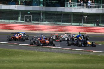 World © Octane Photographic Ltd. FIA European F3 Championship, Silverstone Race 2, UK, Saturday 11th April 2015. Carlin – Calum Ilott, Dallara F312 – Volkswagen and kfzteile24 Mucke Motorsport – Mikkel Jensen, Dallara F312 – Mercedes-Benz. Digital Ref : 1223LB1D8066