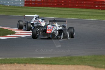World © Octane Photographic Ltd. FIA European F3 Championship, Silverstone Race 2, UK, Saturday 11th April 2015. Motopark – Mahaveer Raghunathan, Dallara F312 – Volkswagen and ThreeBond with T-Sport – Julio Moreno, Dallara F312 – NBE. Digital Ref : 1223LB1D8095