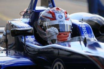 World © Octane Photographic Ltd. FIA European F3 Championship, Silverstone Race 2 parc ferme, UK, Saturday 11th April 2015. Carlin – George Russell, Dallara F312 – Volkswagen. Digital Ref : 1223LW1L0542