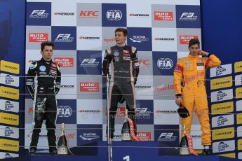 World © Octane Photographic Ltd. FIA European F3 Championship, Silverstone Race 2 overall podium, UK, Saturday 11th April 2015. Carlin – George Russell, Dallara F312 – Volkswagen, Van Amersfoort Racing – Charles Leclerc, Dallara F312 – Volkswagen and Jagonya Ayam with Carlin – Antonia Giovinazzi, Dallara F312 – Volkswagen. Digital Ref : 1223LW1L0599