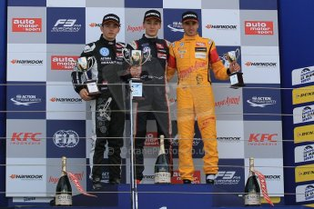World © Octane Photographic Ltd. FIA European F3 Championship, Silverstone Race 2 overall podium, UK, Saturday 11th April 2015. Carlin – George Russell, Dallara F312 – Volkswagen, Van Amersfoort Racing – Charles Leclerc, Dallara F312 – Volkswagen and Jagonya Ayam with Carlin – Antonia Giovinazzi, Dallara F312 – Volkswagen. Digital Ref : 1223LW1L0666