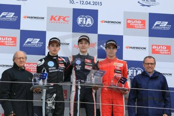 World © Octane Photographic Ltd. FIA European F3 Championship, Silverstone Race 2 rookie podium, UK, Saturday 11th April 2015. Carlin – George Russell, Dallara F312 – Volkswagen, Van Amersfoort Racing – Charles Leclerc, Dallara F312 – Volkswagen, Prema Powerteam – Lance Stroll, Dallara F312 – Mercedes-Benz and Stefano Domenicali - President of FIA Single Seater Commision. Digital Ref : 1223LW1L0774