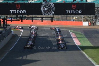 World © Octane Photographic Ltd. FIA European F3 Championship, Silverstone Race 3, UK, Sunday 12th April 2015. The grid forms up for the green flag lap. Digital Ref : 1224LB1D8267