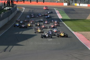 World © Octane Photographic Ltd. FIA European F3 Championship, Silverstone Race 3, UK, Sunday 12th April 2015. Van Amersfoort Racing – Charles Leclerc, Dallara F312 – Volkswagen leads the pack away from the start. Digital Ref : 1224LB1D8298