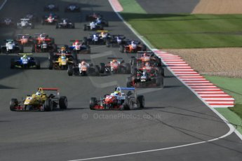 World © Octane Photographic Ltd. FIA European F3 Championship, Silverstone Race 3, UK, Sunday 12th April 2015. Jagonya Ayam with Carlin – Gustavo Menezes, Dallara F312 – Volkswagen and Prema Powerteam – Jake Dennis, Dallara F312 – Mercedes-Benz and Prema Powerteam – Lance Stroll, Dallara F312 – Mercedes-Benz. Digital Ref : 1224LB1D8306