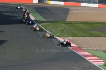 World © Octane Photographic Ltd. FIA European F3 Championship, Silverstone Race 3, UK, Sunday 12th April 2015. Van Amersfoort Racing – Charles Leclerc, Dallara F312 – Volkswagen and Jagonya Ayam with Carlin – Antonia Giovinazzi, Dallara F312 – Volkswagen. Digital Ref : 1224LB1D8411