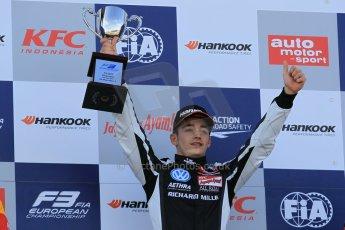 World © Octane Photographic Ltd. FIA European F3 Championship, Silverstone Race 3 overall podium, UK, Sunday 12th April 2015. Van Amersfoort Racing – Charles Leclerc, Dallara F312 – Volkswagen. Digital Ref : 1224LW1L0923