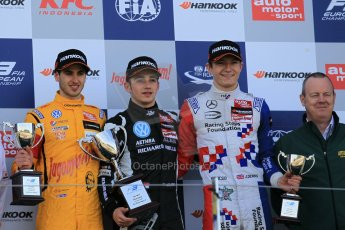 World © Octane Photographic Ltd. FIA European F3 Championship, Silverstone Race 3 overall podium, UK, Sunday 12th April 2015. Van Amersfoort Racing – Charles Leclerc, Dallara F312 – Volkswagen, Jagonya Ayam with Carlin – Antonia Giovinazzi, Dallara F312 – Volkswagen and Prema Powerteam – Jake Dennis, Dallara F312 – Mercedes-Benz. Digital Ref : 1224LW1L0955