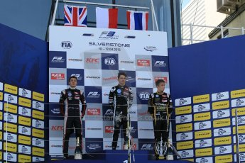 World © Octane Photographic Ltd. FIA European F3 Championship, Silverstone Race 3 rookie podium, UK, Sunday 12th April 2015. Van Amersfoort Racing – Charles Leclerc, Dallara F312 – Volkswagen, Carlin – George Russell, Dallara F312 – Volkswagen and Signature – Alexander Albon, Dallara F312 – Volkswagen. Digital Ref : 1224LW1L1013