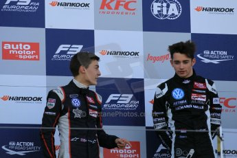 World © Octane Photographic Ltd. FIA European F3 Championship, Silverstone Race 3 rookie podium, UK, Sunday 12th April 2015. Van Amersfoort Racing – Charles Leclerc, Dallara F312 – Volkswagen and Carlin – George Russell, Dallara F312 – Volkswagen. Digital Ref : 1224LW1L1021