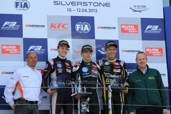 World © Octane Photographic Ltd. FIA European F3 Championship, Silverstone Race 3 rookie podium, UK, Sunday 12th April 2015. Van Amersfoort Racing – Charles Leclerc, Dallara F312 – Volkswagen, Carlin – George Russell, Dallara F312 – Volkswagen and Signature – Alexander Albon, Dallara F312 – Volkswagen. Digital Ref : 1224LW1L1066