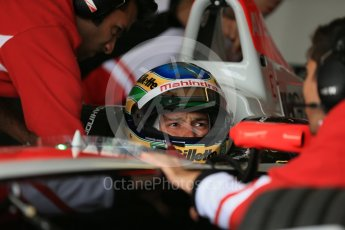 World © Octane Photographic Ltd. FIA Formula E testing – Donington Park 10th August 2015, Mahindra M2ELECTRO. Mahindra – Bruno Senna. Digital Ref : 1366LB1D4375