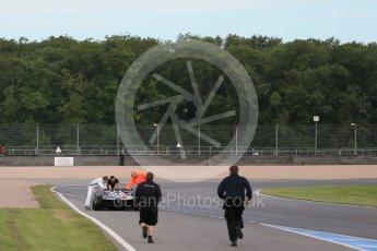 World © Octane Photographic Ltd. FIA Formula E testing – Donington Park 11th August 2015, Venturi VM200-FE-01. Venturi – Jacques Villeneuve stopped on track. Digital Ref : 1367LB1D4675