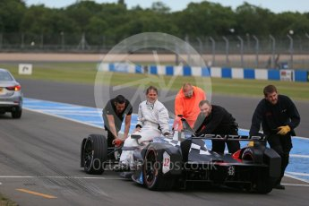World © Octane Photographic Ltd. FIA Formula E testing – Donington Park 11th August 2015, Venturi VM200-FE-01. Venturi – Jacques Villeneuve stopped on track. Digital Ref : 1367LB1D4686
