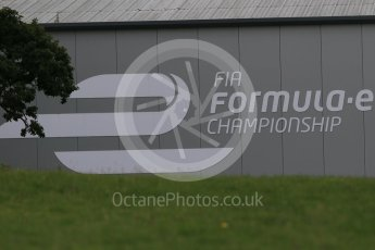World © Octane Photographic Ltd. FIA Formula E logo on HQ building – Donington Park 11th August 2015. Digital Ref : 1367LB1D4778