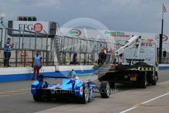 World © Octane Photographic Ltd. FIA Formula E testing – Donington Park 17th August 2015, Andretti ATEC-01. Amlin-Andretti – Simona di Silvestro being recovered back to pitlane. Digital Ref : 1368LB1D5367