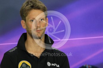 World © Octane Photographic Ltd. FIA Drivers' Press Conference. Thursday 23rd July 2015, F1 Hungarian GP, Hungaroring, Hungary. Lotus F1 Team – Romain Grosjean. Digital Ref: 1345LB1D7176