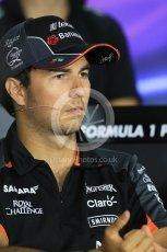 World © Octane Photographic Ltd. FIA Drivers' Press Conference. Thursday 23rd July 2015, F1 Hungarian GP, Hungaroring, Hungary. Sahara Force India – Sergio Perez. Digital Ref: 1345LB1D7506
