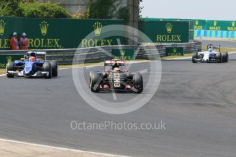 World © Octane Photographic Ltd. Lotus F1 Team E23 Hybrid – Pastor Maldonado, Sauber F1 Team C34-Ferrari – Felipe Nasr and Williams Martini Racing FW37 – Felipe Massa. Friday 24th July 2015, F1 Hungarian GP Practice 2, Hungaroring, Hungary. Digital Ref: 1348CB7D8132