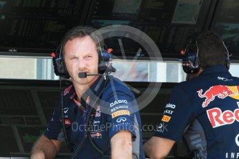 World © Octane Photographic Ltd. Infiniti Red Bull Racing - Christian Horner. Saturday 25th July 2015, F1 Hungarian GP Practice 3, Hungaroring, Hungary. Digital Ref: 1352LB1D0569