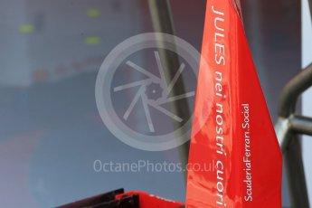 "World © Octane Photographic Ltd. Scuderia Ferrari SF15-T rear wing – ""Jules - Nei nostri Cuori"" (Jules in our hearts). Saturday 25th July 2015, F1 Hungarian GP Practice 3, Hungaroring, Hungary. Digital Ref: 1352LB1D9741"