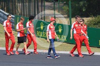 World © Octane Photographic Ltd. Scuderia Ferrari SF15-T– Sebastian Vettel and Esteban Gutierrez. Thursday 23rd July 2015, F1 Hungarian GP track walk, Hungaroring, Hungary. Digital Ref: 1343CB7D7830