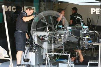 World © Octane Photographic Ltd. Mercedes AMG Petronas F1 W06 Hybrid. Thursday 23rd July 2015, F1 Hungarian GP Pitlane, Hungaroring, Hungary. Digital Ref: 1343LB5D0002