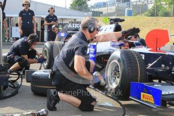 World © Octane Photographic Ltd. Friday 24th July 2015. Daiko Team Lazarus pitstop practice. GP2 Practice Session – Hungaroring, Hungary. Digital Ref. : 1347CB1L4658