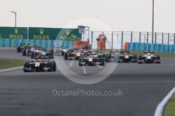 World © Octane Photographic Ltd. Saturday 25th July 2015. DAMS – Alex Lynn leads the pack on the opening lap. GP2 Race 1 – Hungaroring, Hungary. Digital Ref. : 1354CB7D8773