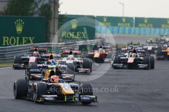 World © Octane Photographic Ltd. Saturday 25th July 2015. DAMS – Alex Lynn leads the pack on the opening lap. GP2 Race 1 – Hungaroring, Hungary. Digital Ref. : 1354CB7D8783