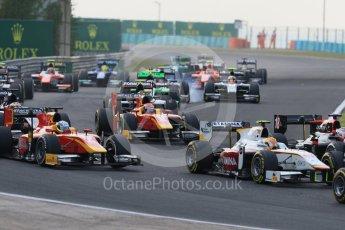 World © Octane Photographic Ltd. Saturday 25th July 2015. Close fighting into turn 3. GP2 Race 1 – Hungaroring, Hungary. Digital Ref. : 1354CB7D8799