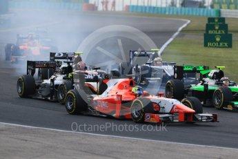 World © Octane Photographic Ltd. Saturday 25th July 2015. Close fighting into turn 3. GP2 Race 1 – Hungaroring, Hungary. Digital Ref. : 1354CB7D8811