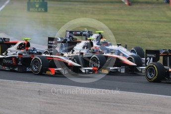 World © Octane Photographic Ltd. Saturday 25th July 2015. Close fighting into turn 3. GP2 Race 1 – Hungaroring, Hungary. Digital Ref. : 1354CB7D8817