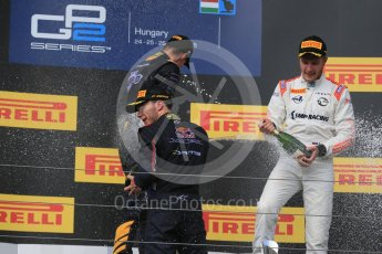 World © Octane Photographic Ltd. Saturday 25th July 2015. DAMS – Alex Lynn (1st), and Pierre Gasly (2nd) and Rapax – Sergey Sirotkin (provisional 3rd). GP2 Race 1 podium – Hungaroring, Hungary. Digital Ref. : 1354LB1D1648
