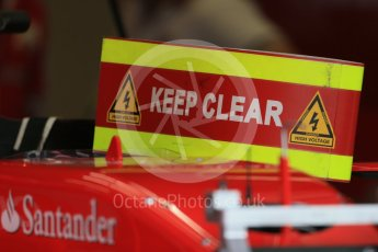 World © Octane Photographic Ltd. Scuderia Ferrari SF15-T electrical hazard, keep clear. Thursday 3rd September 2015, F1 Italian GP Paddock, Monza, Italy. Digital Ref: 1400LB1D8069