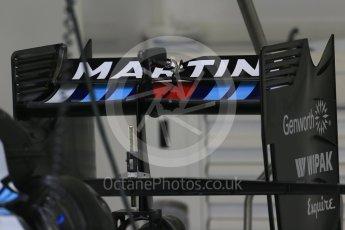 World © Octane Photographic Ltd. Williams Martini Racing FW37 rea wing. Thursday 3rd September 2015, F1 Italian GP Paddock, Monza, Italy. Digital Ref: 1400LB1D8145