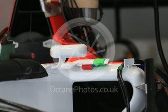World © Octane Photographic Ltd. Manor Marussia F1 Team MR03B sidepod vane detail. Thursday 3rd September 2015, F1 Italian GP Paddock, Monza, Italy. Digital Ref: 1400LB1D8183
