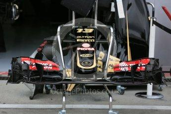 World © Octane Photographic Ltd. Lotus F1 Team E23 Hybrid front wing – Pastor Maldonado. Thursday 3rd September 2015, F1 Italian GP Paddock, Monza, Italy. Digital Ref: 1400LB5D8074