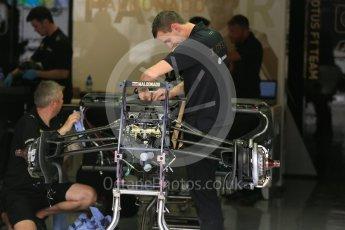 World © Octane Photographic Ltd. Lotus F1 Team E23 Hybrid front suspension and brakes– Pastor Maldonado. Thursday 3rd September 2015, F1 Italian GP Paddock, Monza, Italy. Digital Ref: 1400LB5D8076