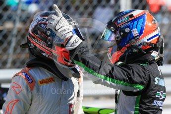 World © Octane Photographic Ltd. Saturday 5th September 2015. Status Grand Prix – Richie Stanaway and Rapax – Robert Visoiu. GP2 Race 1, Monza, Italy. Digital Ref. : 1413LB1D1774
