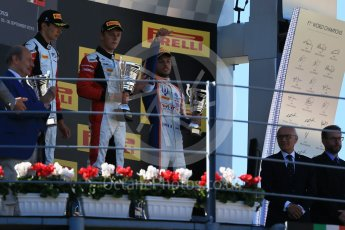 World © Octane Photographic Ltd. Sunday 6th September 2015. ART Grand Prix – Marvin Kirchhofer (1st) and Esteban Ocon (2nd) and Trident – Luca Ghiotto (3rd). GP3 Race 2 - Monza, Italy. Digital Ref. : 1415LB1D2265