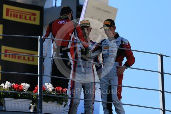 World © Octane Photographic Ltd. Sunday 6th September 2015. ART Grand Prix – Marvin Kirchhofer (1st) and Esteban Ocon (2nd) and Trident – Luca Ghiotto (3rd). GP3 Race 2 - Monza, Italy. Digital Ref. : 1415LB1D2321